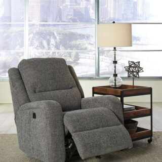 Krismen Charcoal Power Rocker Recliner with Adjustable Headrest
