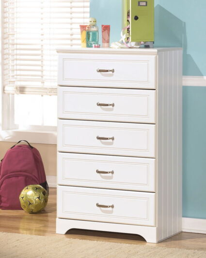 Lulu White Five Drawer Chest