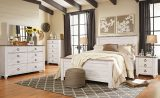 Willowton - Whitewash - 8 Pc. - Dresser, Mirror, Chest, Queen Panel Bed & 2 Nightstands
