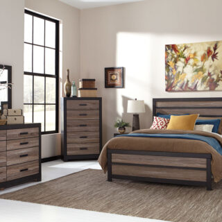 Harlinton - Warm Gray/Charcoal - 8 Pc. - Dresser, Mirror, Chest, Queen Panel Bed & 2 Nightstands