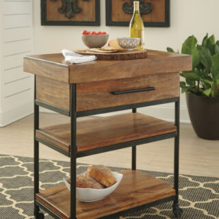 Glosco Warm Brown Serving Cart
