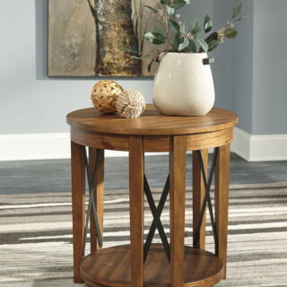 Emilander - Light Brown - Round End Table