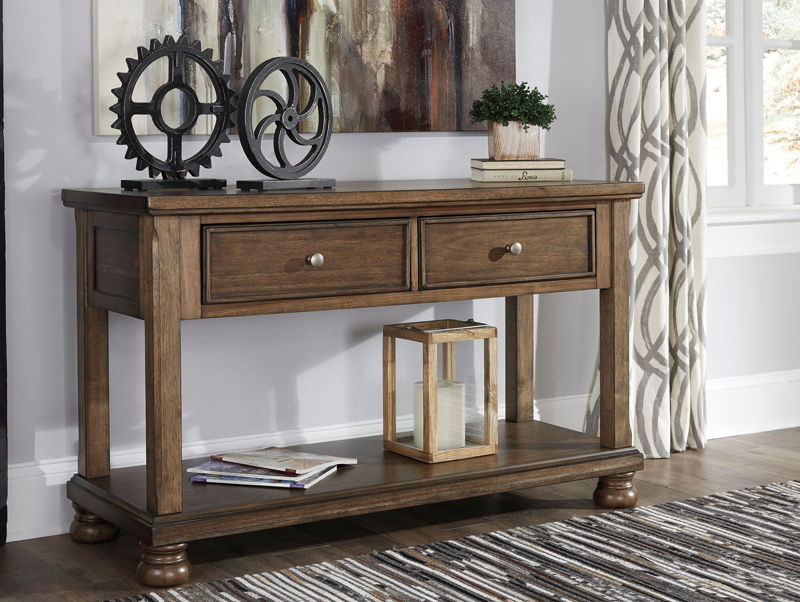Flynnter Medium Brown Console Sofa Table