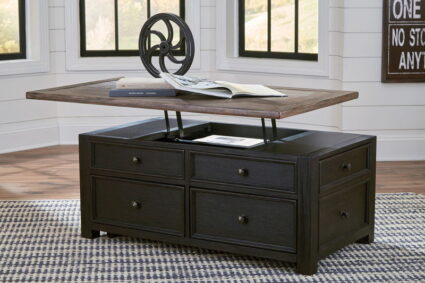 Tyler Creek Grayish Brown/Black Lift Top Cocktail Table