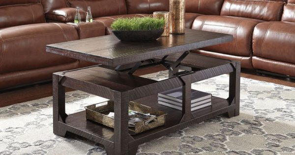 Rogness Rustic Brown Lift Top Cocktail Table Comfort Center Furniture And Mattresses