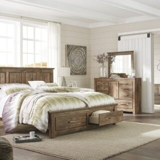 Blaneville - Brown - 9 Pc. - Dresser, Mirror, Media Chest, King Storage Bed & 2 Nightstands
