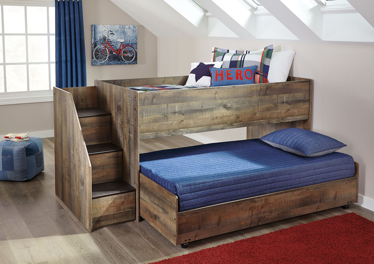 Trinell Brown Twin Loft Bed With Caster Bed Amp Storage Steps Comfort Center Furniture And