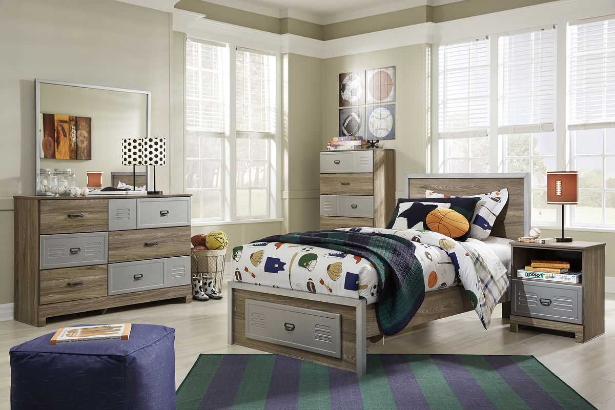 McKeeth - Multi - Dresser, Mirror & Twin Footboard Storage Bed