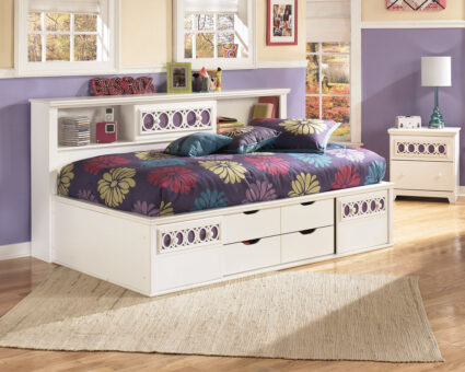 Zayley - White - Twin Bookcase Bed with Storage