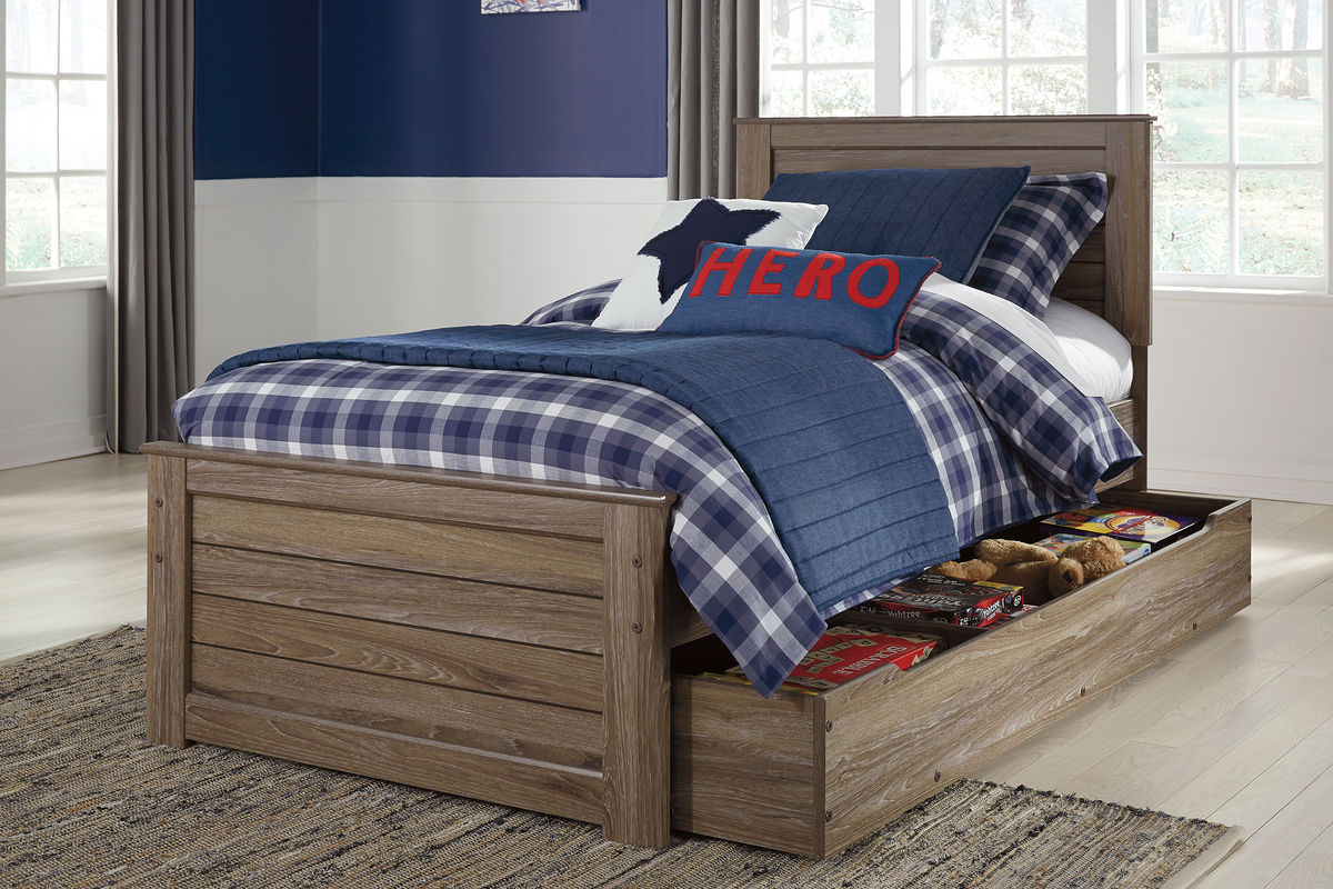 twin bed with storage underneath javarin grayish brown panel bed with trundle 20005