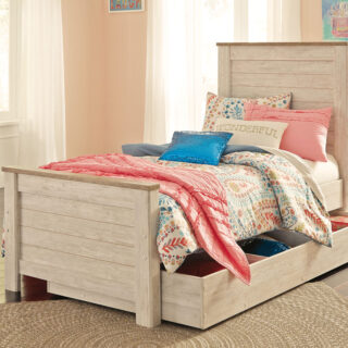 Willowton - Whitewash - Twin Panel Bed with Trundle Under Bed Storage