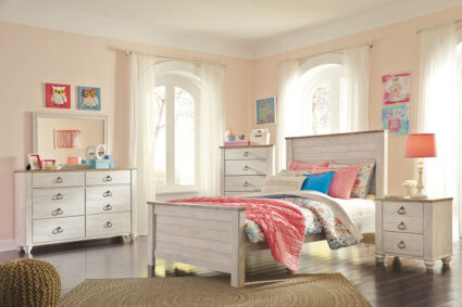 Willowton - Whitewash - 5 Pc. - Dresser, Mirror & Full Panel Bed