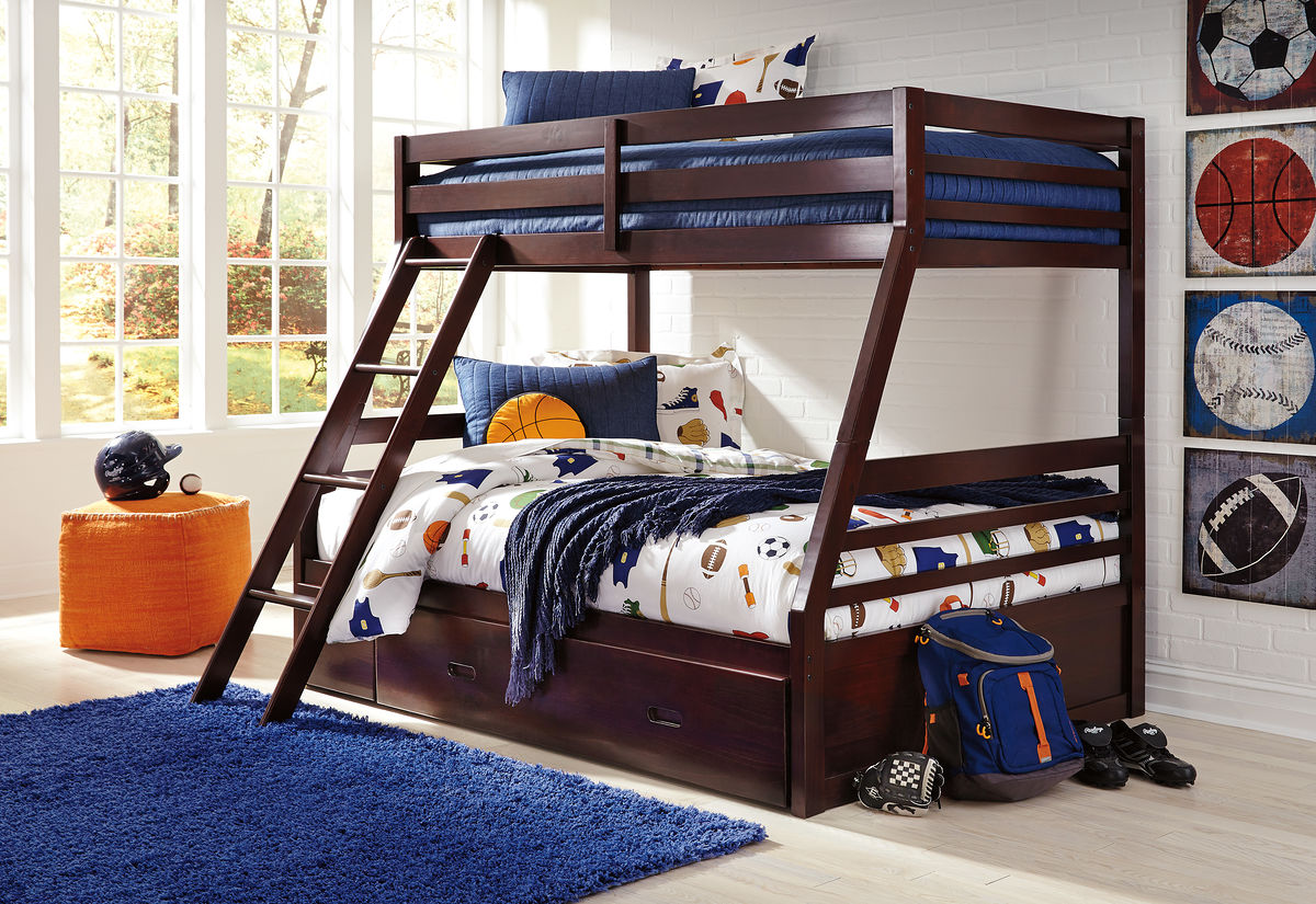 Halanton Dark Brown Twin Full Bunk Bed With Ladder Bunk Bed
