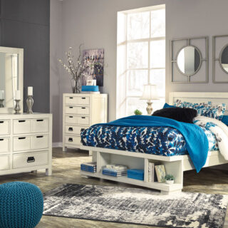 Blinton - White - 8 Pc. - Dresser, Mirror, Chest, Queen Panel Storage Bed & 2 Nightstands