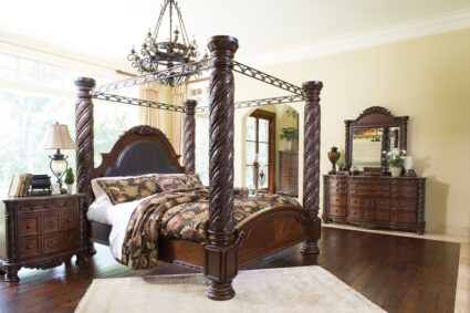 North Shore - Dark Brown - 8 Pc. - Dresser, Mirror, Chest & California King Poster Bed