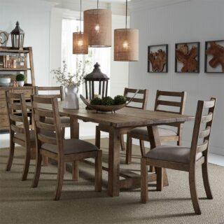 Prescott Valley 7 Piece Trestle Table Set
