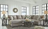 Renchen - Pewter - LAF Corner Chaise, Armless Loveseat & RAF Sofa with Corner Wedge Sectional