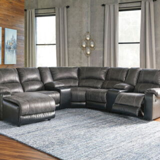 Nantahala - Slate - LAF Corner Chaise, Console with Storage (2), Armless Chair, Wedge, Armless Recliner & RAF Zero Wall Recliner Sectional