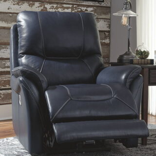 Stolpen - Blue - Power Recliner with Adjustable Headrest