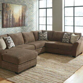 Justyna - Teak - LAF Corner Chaise, Armless Loveseat & RAF Sofa Sectional, and Ottoman