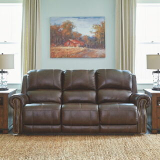 Buncrana Chocolate Power Reclining Sofa with Adjustable Headrest