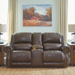 Buncrana Chocolate Power Reclining Loveseat with Adjustable Headrest
