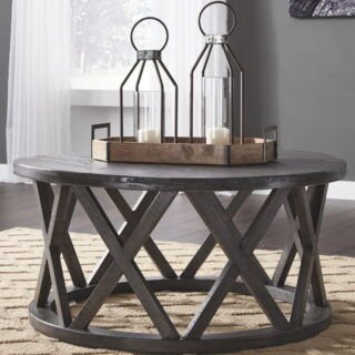 Sharzane - Grayish Brown - Round Cocktail Table