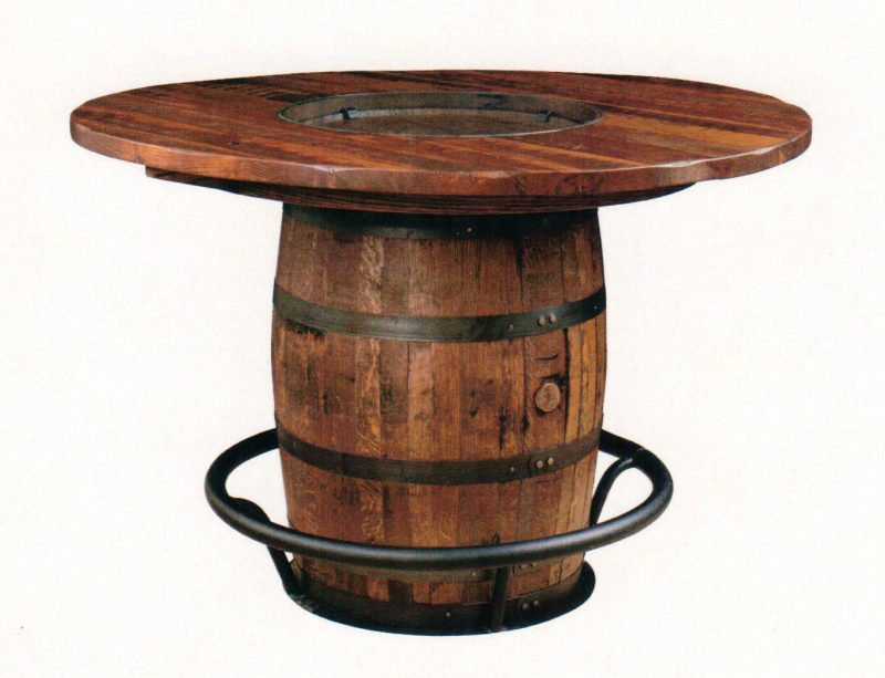 Amish Reclaimed Bourbon Barrel Table Comfort Center