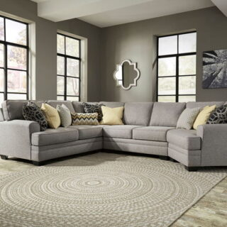 Cresson Pewter LAF Loveseat, Wedge, Armless Loveseat, RAF Cuddler Sectional