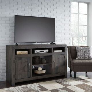 Mayflyn Charcoal Large TV Stand w/Fireplace Option