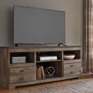 Trinell Brown Large TV Stand w/Fireplace Option