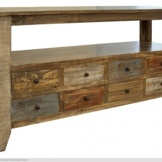 Artisan Antique Finish Eight Drawer Sofa Table