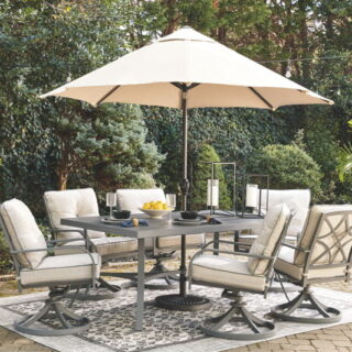 Donnalee Bay Dark Gray Rectangular Dining Table With Umbrella Option