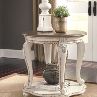 Realyn White/Brown Round End Table