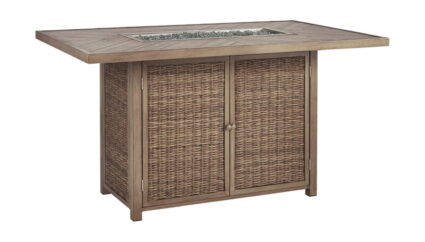 Beachcroft Beige Rectangular Bar Table w/Fire Pit