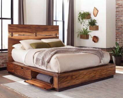 Scott Living Rustic Smoky Walnut Eastern King Storage Bed