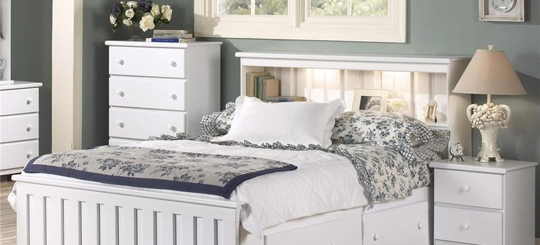 Shaker Classic White Bookcase Headboard with Lights